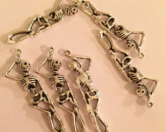 2-Side Silver Skeleton Charms - 2 Pieces