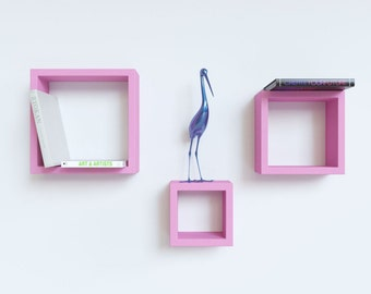 DecorNation Floating Wall Shelf Rack Set Of 3 Nesting Square Wall Shelves - Pink