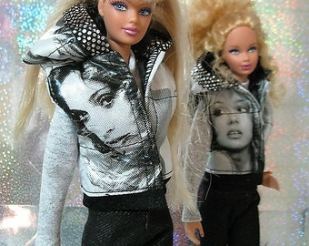 Barbie clothes - vest with Madonna or Britney
