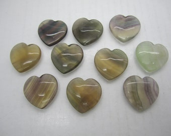 "Bulk 1""(25X7MM) Fluorite Pocket Hearts - 10 PC. LOT"