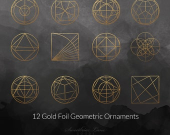 Gold Foil Geometric Ornament clip art for instant download