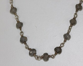 925 Sterling Silver  Labadorite  Necklace  (NE-1015N)