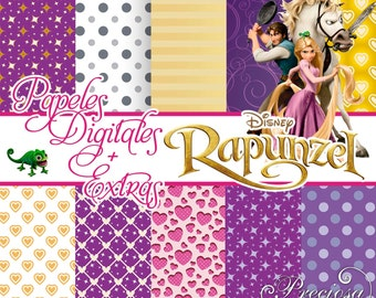 Digital papers Rapunzel + 15 Clipart