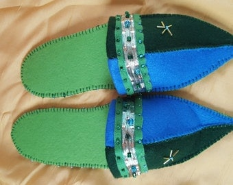 Felt finches 1001 - light green dark green blue - with anti slipping sole