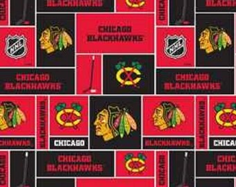 NHL CHICAGO BLACKHAWKS Patchwork Hockey 100% cotton fabric material you choose length liscensed for Crafts, Quilts, clothing and Home Decor