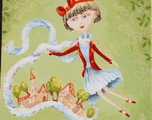 Whimsical painting  Small acrylic painting Original painting for girls Nursery art Feminine art Original artwork for kids Gift for daughter