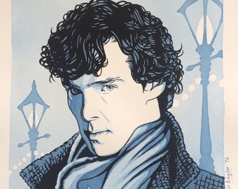 Sale! 25% off: Limited edition Art Print of Benedict Cumberbatch (Sherlock) from the original watercolour/gouache painting by Chris Naylor