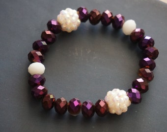 Purple Crystal Beaded Bracelet ft. White Rhinestone Accent Beads