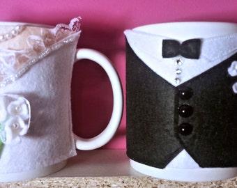 elegant Bride Groom couple 1 cup warmer (mug)