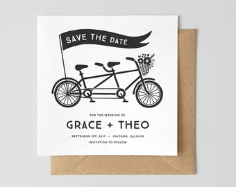Tandem Bike Letterpress Save The Date