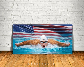 Michael Phelps Canvas High Quality Giclee Print Wall Decor Art Poster Artwork