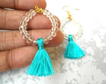 Beaded Tassel Earrings - Tassel Hoop Earrings - Hoop Tassel Earrings - Beaded Hoop Tassel Earrings _ Beaded hoop Earrings