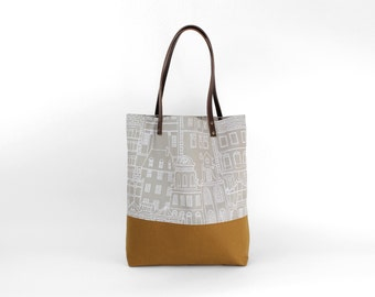 Shoulder bag taupe Cognac Häuserprint / canvas