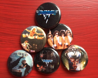 "1.25"" Van Halen pin back button set of 6"