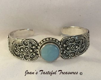 BA Suarti Sterling Silver Shadow Box Design Cuff Bracelet Featuring Amazonite