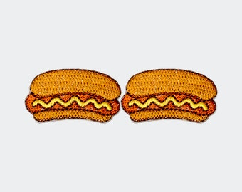 Set of 2 - Hot dog Sausage. Iron-on Patch/Flex stickers/Applique