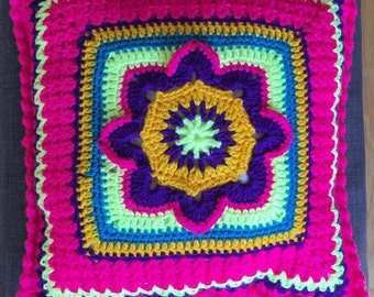 Hippie  knitted pillow