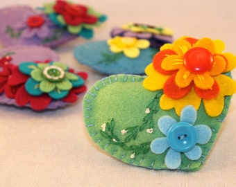 Hand Embroidered Felt Heart Brooch, with Vintage Buttons