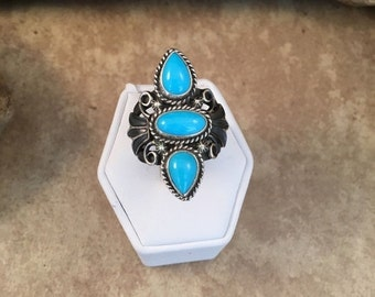 ON SALE Vintage Turquoise and Sterling Silver Navajo Ring Size 7.5 Signed