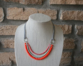 Grey, Orange, Pink, and Seafoam Green Necklace