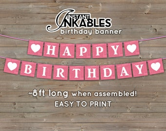 Pink Happy Birthday Banner, Princess Happy Birthday , Happy Birthday Bunting, Typography Happy Birthday, Printable birthday banner