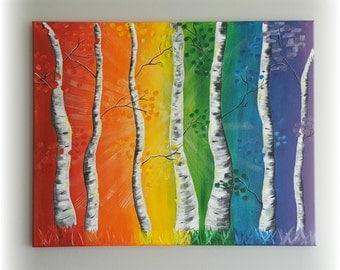 Rainbow Birch Trees