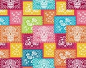 sugar skulls - skull - paper mache - festive sugar skull -fabric - cotton