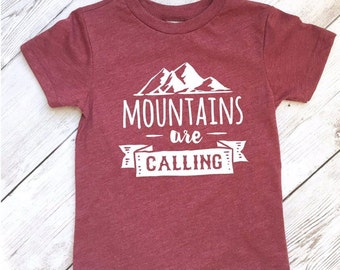 Toddler mountain shirt, The Mountains are Calling, camping shirt, mountain shirt baby, mountain shirt baby, wild shirt