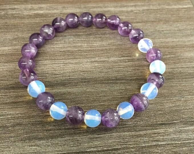 8mm Amethyst 8mm opalite  Bracelet, June Birthstone Bracelet, Healing Crystal Natural Stone Healing Jewelry Positive energy
