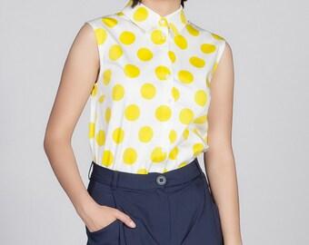 Sleeveless shirt  Off White / Citrine Yellow Dots