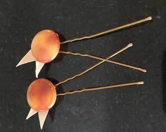 Golden button hair pins
