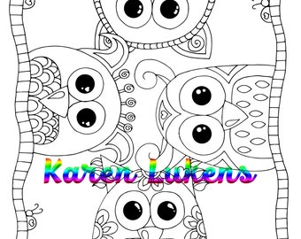 Just Be You Owls, 1 Adult Coloring Book Page, Printable Instant Download
