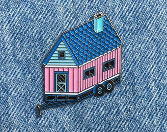 SALE! Tiny House - Enamel Pin - Soft Enamel - Mobile Home - Pink House
