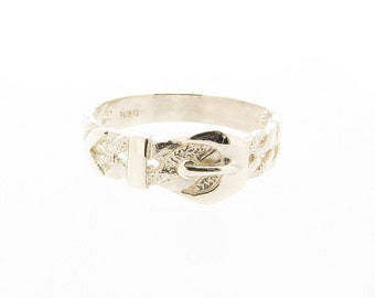 Sterling Silver Belt Buckle Ring -  UK Sizes R - X - US Sizes 8.5 - 11.5 (size conversion in description)