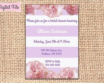 Purple Peony Bridal or Baby Shower Invitation