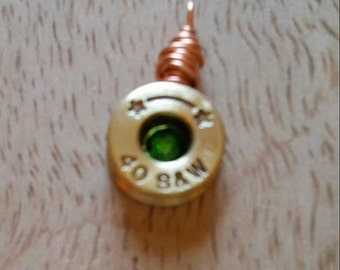 Bullet Pendant With Green Swarovski Crystal.