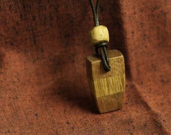 Handmade oak & mahogany necklace