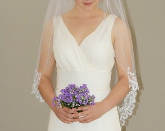"Soft and Sheer Lace Wedding Veil - classic gather top 42"" fingertip length bridal veil with lace edge"