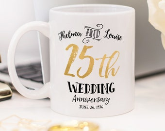 25th Wedding Anniversary mug, customized wedding mug