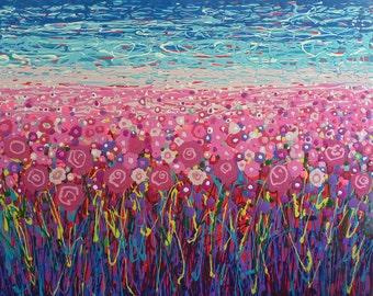 Field of pink flowers art print//Floral field giclee print//Field of flower wall art//Pink poppy meadow wall decor//Botanical garden print