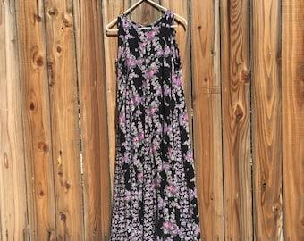 1990's Black and Purple Chiffon Dress