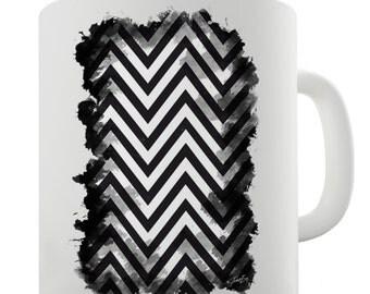 Black & White Geometric Chevron Pattern Ceramic Novelty Mug
