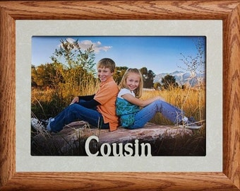 5x7 jumbo cousin photo frame holds a 5x7 photo a keepsake picture frame to hold your favorite cousins picture