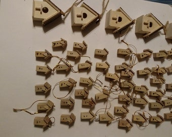 Small wooden birdhouses