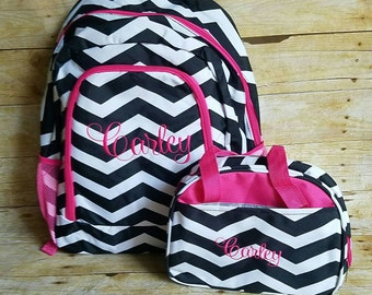 Monogram Black and Pink Chevron backpack