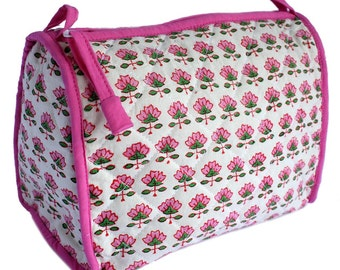 Large Wood Block Printed toiletry with interior pockets and piping.