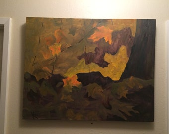 Original Abstract Oil Painting Fall Leaves