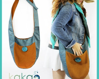 Handmade Cotton Sling Hobo Bag, Womens Purse