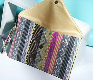 Multicolored Aztec Inspired Clutch