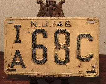 New Jersey License Plate, Antique NJ License Plate, Vintage New Jersey License Plate, Metal 1946 License Plate, NJ License Plate